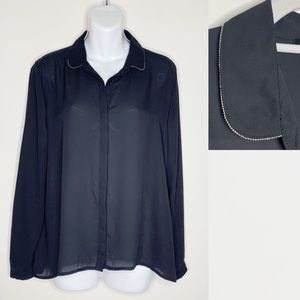 H&M Black Semi Sheer Blouse Chain Bead Detail 8